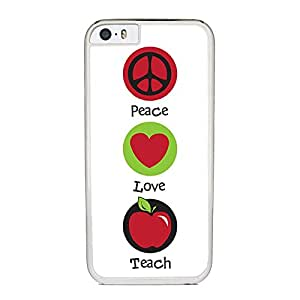 Insomniac Arts - Peace Love and Teach - Case for iPhone 6 Plus, White Silicone Rubber Cover