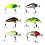 iLooper 6PCS/LOT CrankBaits Fishing Lures Hard Plastic Swimbait Wobbler Fishing Lure, Artificial Bait
