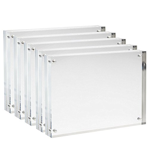 Sooyee 5 Pack 5X7 Acrylic Picture Frames,Clear,Magnetic Photo Picture Frame, Double Sided Frameless Stand Desktop Photograph Display
