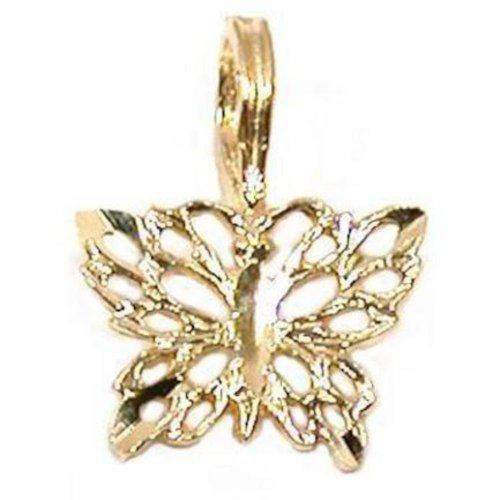 Color Butterfly Italian Charm (14K Yellow Gold Butterfly Pendant Charm)