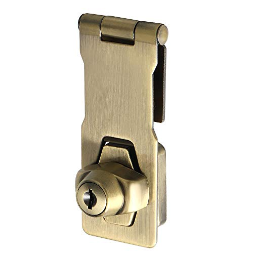 Alise 3-Inch Clasp Keyed Hasp Latch Lock Safety Gate Latches,Without Padlock,Bronze