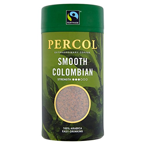 PERCOL SMOOTH COLOMBIA INSTANT COFFEE - Easy Drinking Colombian Flavor, Aroma and Taste - Fairtrade Certified 100% Arabica Beans Freeze-Dried Coffee - Lighter Strength Blend 1 Pk 3.5 oz (Smooth Instant Coffee)