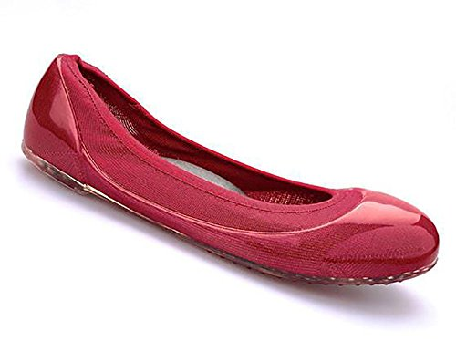 JA VIE Womens Summer Shoes Womens Ballet Flats Style For Every Day Wear Driving, Red SZ 38 -