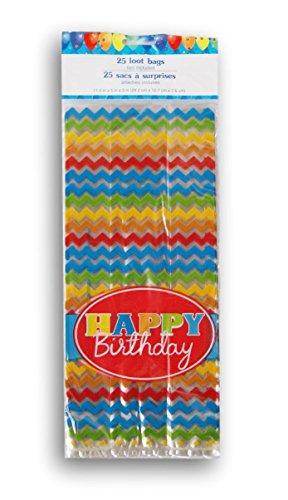 Happy Birthday Treat Bags - Happy Birthday Chevron Cellophane Treat Bags with Twist Ties - 25 count