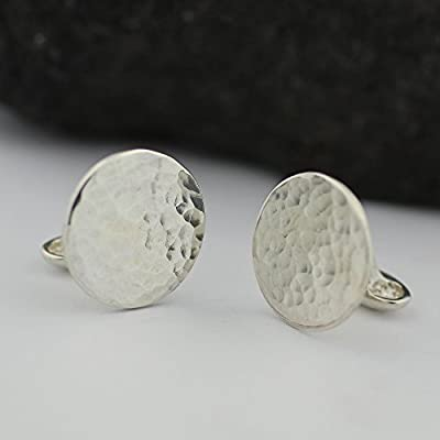 Handmade Sterling Silver Round Cufflinks. Perfect as Groom or Father of the Bride Cufflinks.