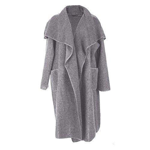 FASHIONCHIC New Italian Boiled Wool Mix Coat Lagenlook Waterfall Pocket Duster Jacket 16-26 Grey