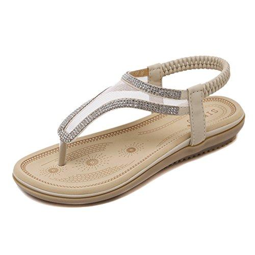 Sandali Da Spiaggia Ventilati Eleganti Da Donna Agowoo Beige