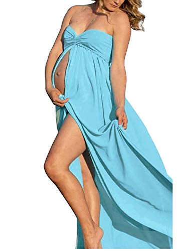 - Blue Maternity Off Shoulder Tube Chiffon Gown Split Front Strapless Maxi Pregnancy Photography Dress for Photo Shoot and Baby Shower