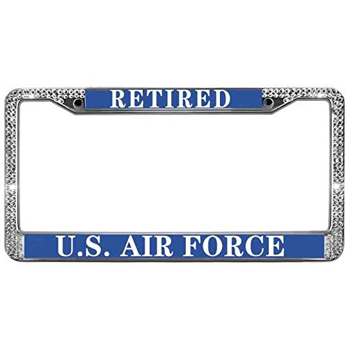 - FeKa Case Clear Crystal Rhinestone US Airforce Retired US License Plate Frame Safety Pack License Plate Frame Aluminum Alloy License Plate Frame Tag Inlcudes Screws