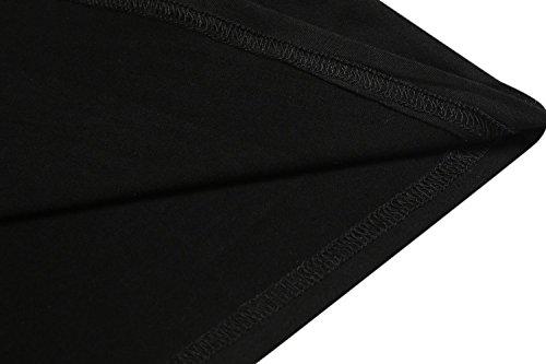 ADOMER Mujer Camisón Ropa de Dormir Casual Cuello V Cordón Ajustable Elástico negro