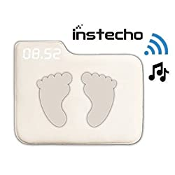 Alarm Clock for Heavy Sleepers, instecho Rug Carpet Alarm Clock - Digital Display, Pressure Sensitive Alarm Clock with Soft Touch for Modern Home, Kids, Teens, Girls and Guys (Square Cream)
