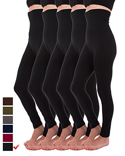 Homma 5 Pack High Waist Fleece Lined Thick Tummy-Compression Brushed Leggings (S/M/L, Black x5) ()
