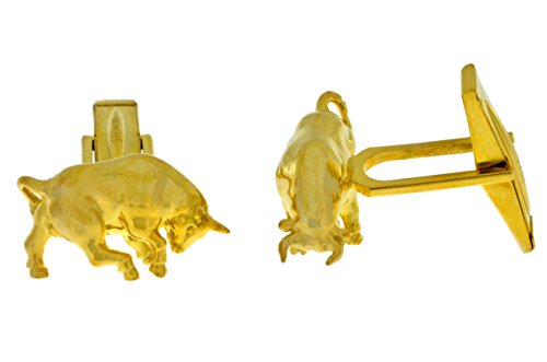 (Elizabeth Jewelry Bull Cufflinks 14Kt Yellow Gold Plated Over .925 Sterling Silver)