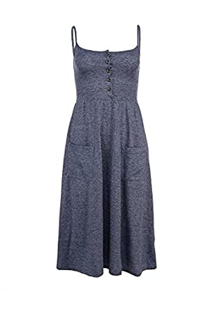 Topshop Strappy Button Midi Dress Blue UK 6 Small Jersey Sundress Summer Party