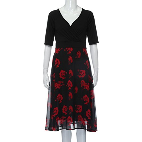 floreale con grandi festa grossa V della eleganti donna Rosso spiaggia a vestiti scollo taglia Vestito Boemia di da abiti dimensioni da vestito w70qYX