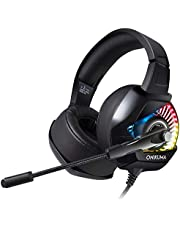 Gaming Headset for Xbox one Gaming Headset 3.5mm Stereo Wired Over Ear Gaming Headset with Mic&Noise Cancelling & LED Light Xbox One/PC/Mac OS PC/PS4/Table/Phone (White)
