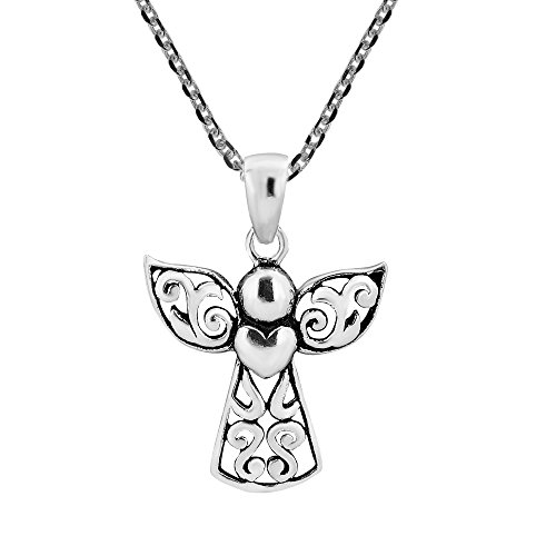 (AeraVida Guardian Angel of Love .925 Sterling Silver Pendant Necklace)