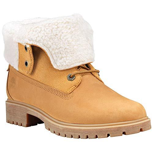 Timberland Women Boot Ankle (Timberland Women's Jayne Waterproof Teddy Fleece Fold Down Wheat Nubuck 8.5 B US B (M))