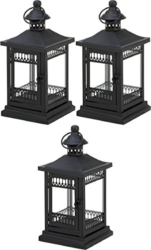 "[3 Black Filigree Block Lace 10"" Tall Candle Holder Lantern Light Outdoor Terrace] (Terrace 3 Light Pendant)"