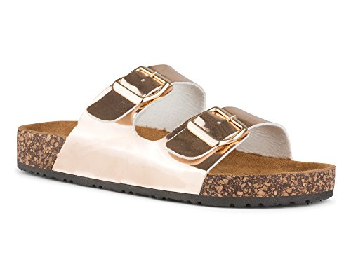 (Twisted Women's Payton Double Strap Cork Sole Sandal - PAYTON46 Rose Gold, Size 8)
