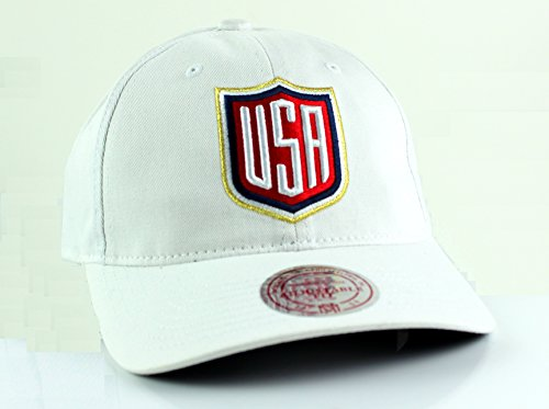 Mitchell & Ness World Cup of Hockey 2016 Team Logo Slouch Adjustable Backstrap Hat (Team USA-White)