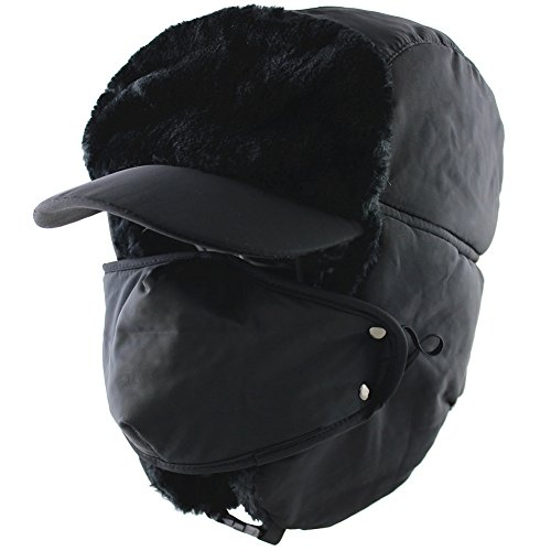 9d6d89aa757458 CAMOLAND Winter Trapper Trooper Bomber Hat With Face Mask Warm Hunting Hats  For Men Women (Black)