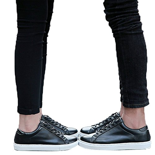 en Unisex Fashion PU Leather Lace Up Lovers Casual Flat Sneaker Shoes Black 42 ()