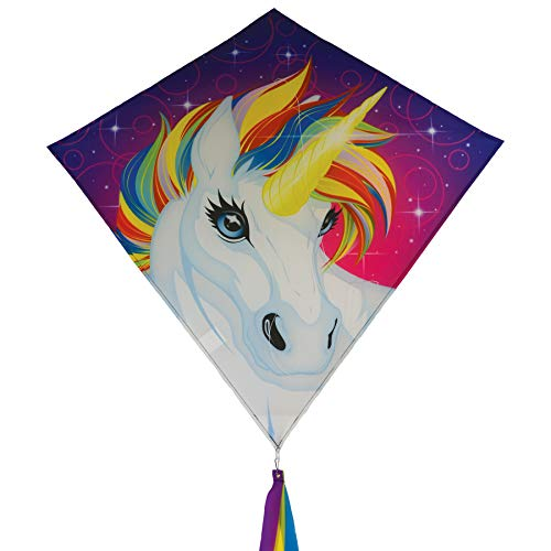 "In the Breeze 3259 - 30"" Diamond Kite - Fun, Easy Flying Unicorn Kite"