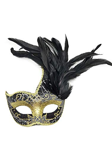 Women's Feather Masquerade Mask Venetian Halloween Mardi Gras Costumes Party Ball Prom Mask (Black) ()