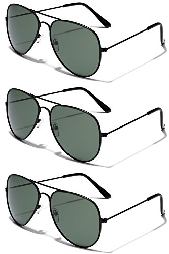 3 Pack Deal - Polarized Classic Full Rim Metal Aviator Sunglasses - Thin Wire Rim Glasses
