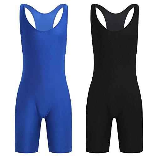 FEESHOW Men's Wrestling Singlet One Piece Sport Bodysuit Leotard Gym Outfit Underwear