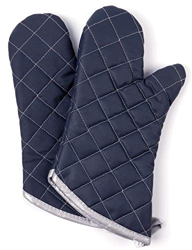 Oven Mitts 1 Pair of Quilted Cotton Lining - Heat Resistant to 425°F Kitchen Gloves,Flame Oven Mitt Set (Black, Cotton) - Oven Glove Set