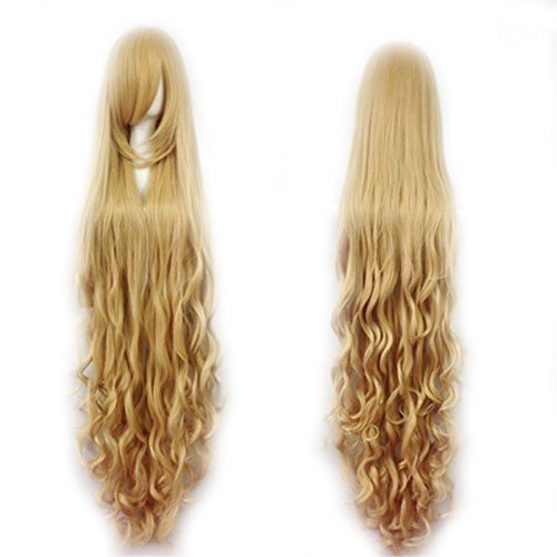 Fashion Women's Cosplay Hair Wig 150cm Long Curly Hair Heat Resistant Costume Party Full Wigs (Wig Extra Long)