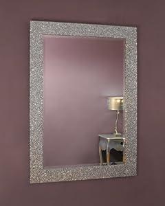 C Amp M 183 Eastwell 183 Silver Glitter Framed Mirror 183 107cm X