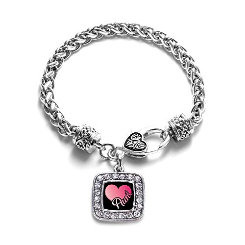 Inspired Silver - Aunt Braided Bracelet for Women - Silver Square Charm Bracelet with Cubic Zirconia - Square Pave Link