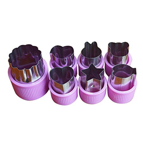 Frjjthchy 7 Pieces Food Molds Stainless Steel Vegetable Fruit Cutters for Kids Purple - Homemade Guillotine Halloween
