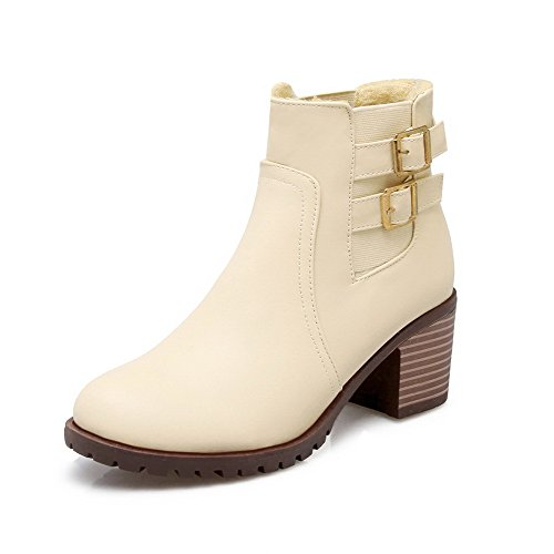 AmoonyFashion Womens Soft Material Round Closed Toe Solid Low-Top Kitten-Heels Boots Beige e8JOWD
