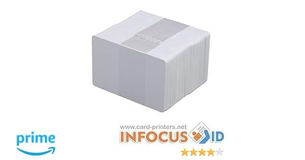 x 100 en Blanco Pvc Blanco Plástico Tarjetas cr-80 30mil para todos ID Impresoras: Amazon.es: Oficina y papelería