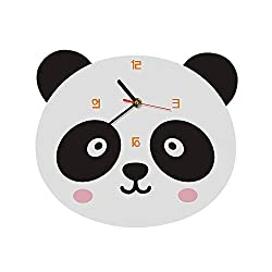 LIZHIHUI Wall Clocks for Living Room Cute Panda Shaped Decor Clock Suitable for Office Restaurant Bedroom Kids Room Cafe Hotel 26x23 cm Birthday Present Acrylic