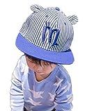 Jixin4you Toddler Cotton Baseball Cap Stripe Snapback Hip Hop Flat Hat Blue 52cm