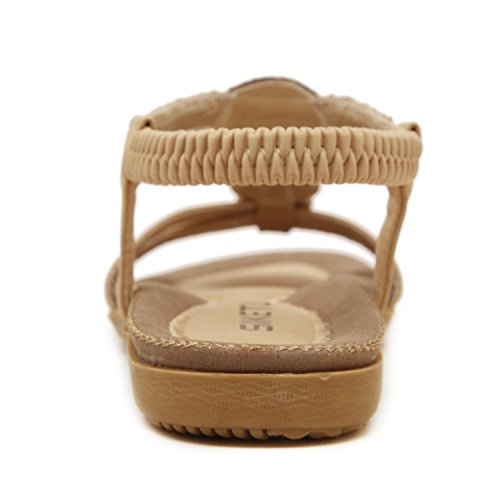 Insun - Sandalias para mujer, estilo bohemio con cuentas, atadas al tobillo 4