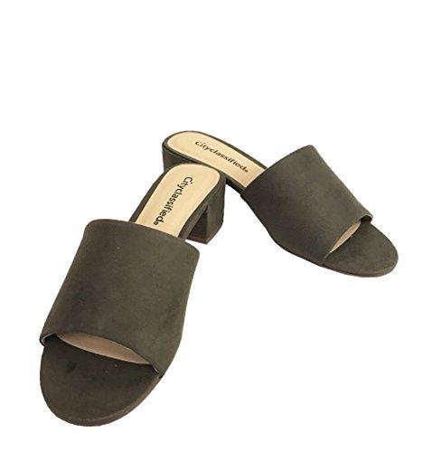 WATSON Suede Heel Sandals Toe Open Womenn Suede Slide Chunky Olive Faux 7qBfpwr7