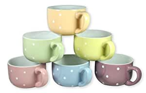 Francois et Mimi 14-Ounce Colored Ceramic Coffee/Soup Mugs, Large, Polka Dot Pastel, Set of 6