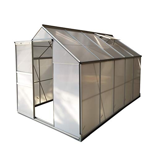 ALEKO GHA005 Outdoor Walk-in Poly-Carbonate Greenhouse with Aluminum Frame 122 x 75 x 77 Inches