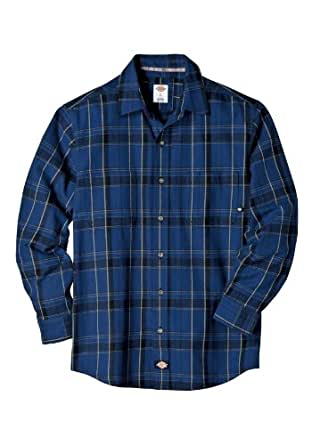 Dickies WL366PML Long Sleeve Yarn Dyed Button-Front Flannel Shirt (Smoke/Black Plaid;X-Large)