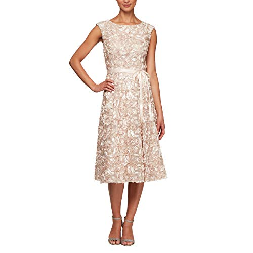 Alex Evenings Women's Midi Length Embroidered Party Dress, Champagne, 12 ()