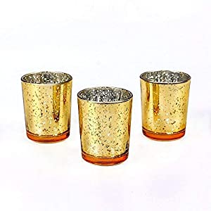 "Wedding Decorations for Reception Mercury Glass Votive Candle Holder – 2.1"" W 2.6"" H (12pcs) – Glasses Holder Tealight Candles Holders Glass Candle Holders for Wedding Decor – Gold Glasses"