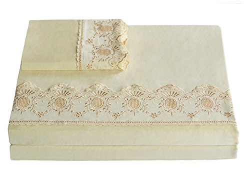 Merryfeel Cotton Sateen 300 Thread Count Embroidered Lace Sheet Set - Queen