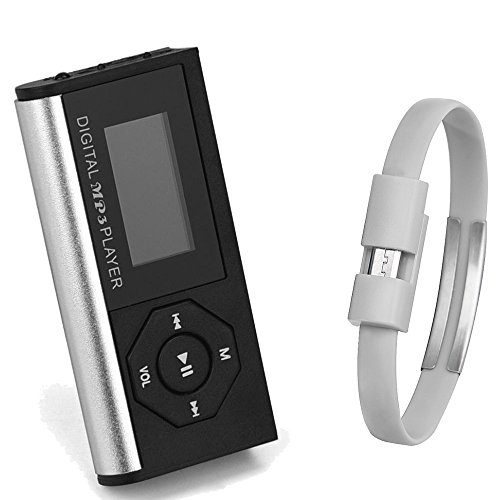Doinshop Mini MP3 Music Media Player LCD Screen & Wristband Micro USB Cable Silver