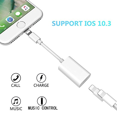 iPhone 7 Adapter, Dual Lightning Headphone Audio and Charge Adapter for iPhone 7 / 7 Plus, ADABUNNY Lightning to Double Lightning AUX Splitter Audio + Charge and Sync Data Compatible for iOS 10.3